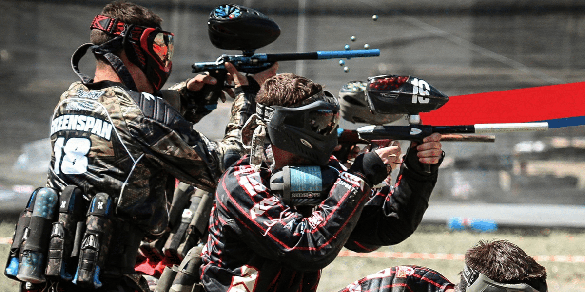 A bunch of players playing paintball