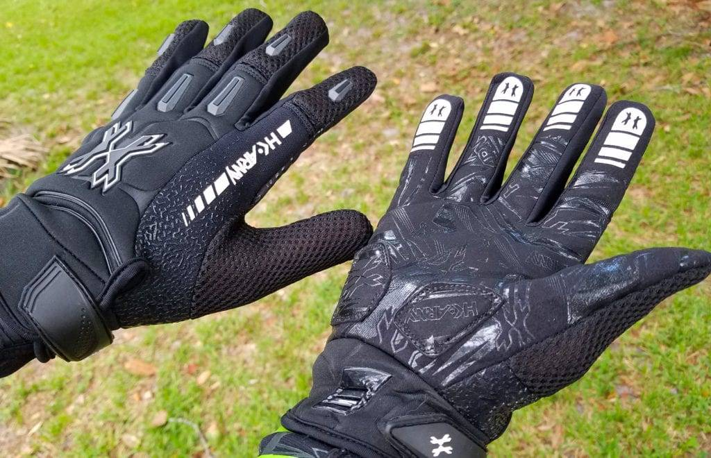 Person Showing Paintball Gloves