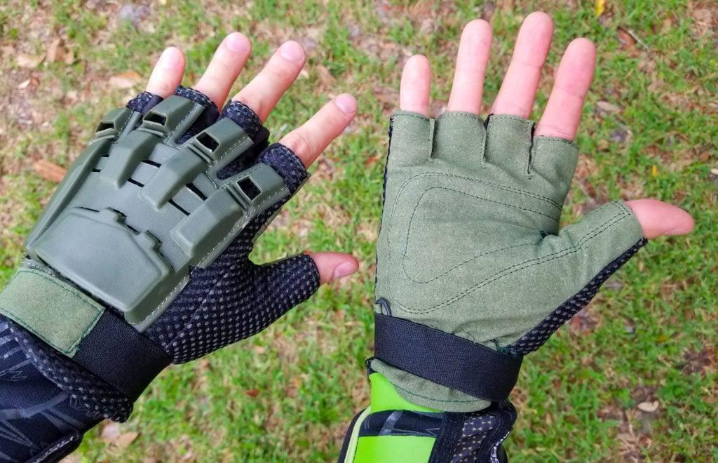 Person Wearing Fingerless Gloves